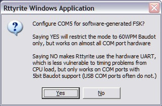 Rttyrite Software FSK Com port start
