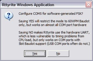 Rttyrite Software FSK Com port start