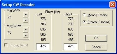 CW Decoder Settings Dialog Box