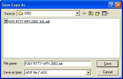 Export ADIF Dialog Box