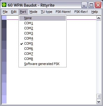 Rttyrite Port Dialog Box