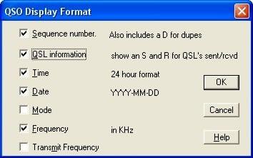 QSO Display Format dialog