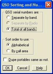 Sort Ordering and Serial Number Dialog Box