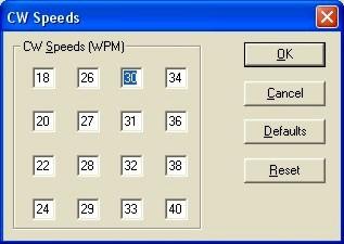 CW Speed Dialog Box