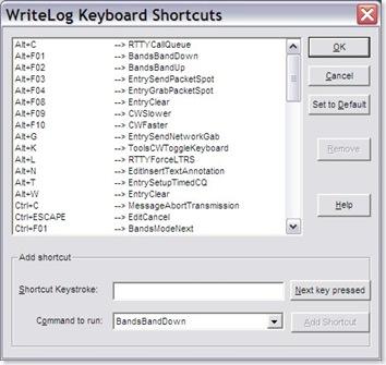 WriteLog Keyboard Shortcuts